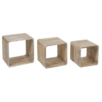 Set de 3 cubos madera
