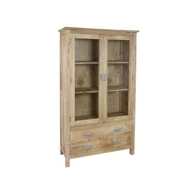 Wooden vitrine with 2 doors