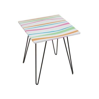 Mesa cuadrada rayas colores