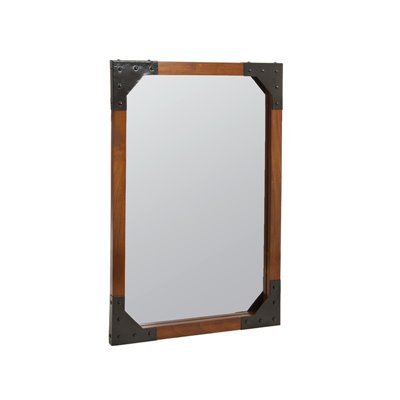 Wood and metal wall mirror
