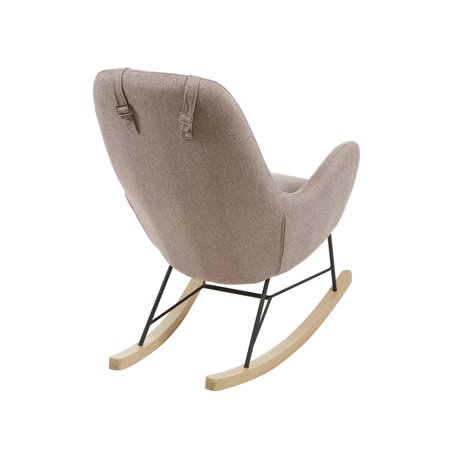 Brown fabric rocking chair