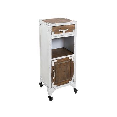Mesa vintage blanca con 1 cajón y 1 puerta y ruedas