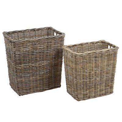 Set of 2 baskets lid rattan