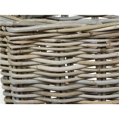 Set of 2 baskets lid rattan