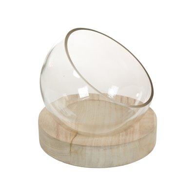 Centro mesa cristal con madera