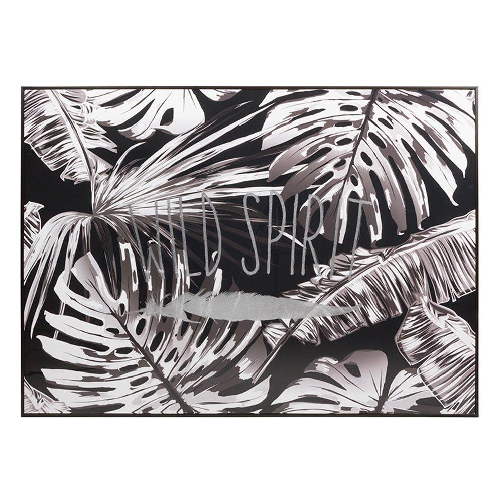 Cuadro hojas blanco y negro