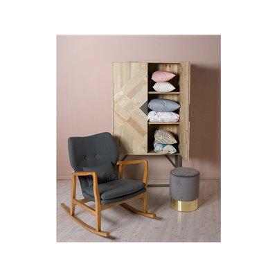 Taburete redondo tapizado de terciopelo gris y base oro