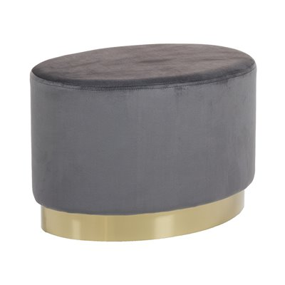 Taburete ovalado tapizado de terciopelo gris y base oro