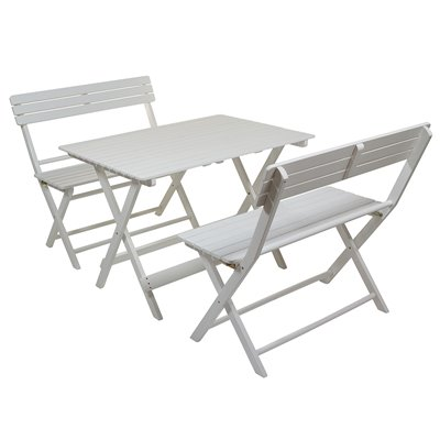 Avec 2 De Blancs Set Table Jardin Bancs HE29IWDY
