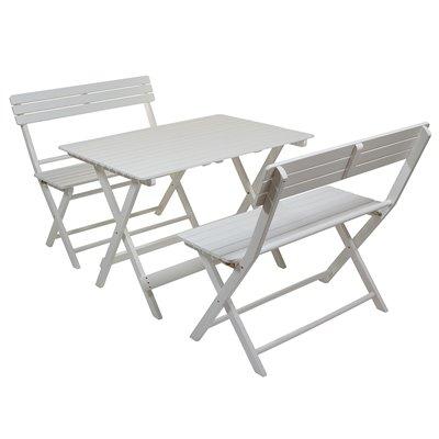 Conjunto de mesa de jardín con 2 bancos blancos