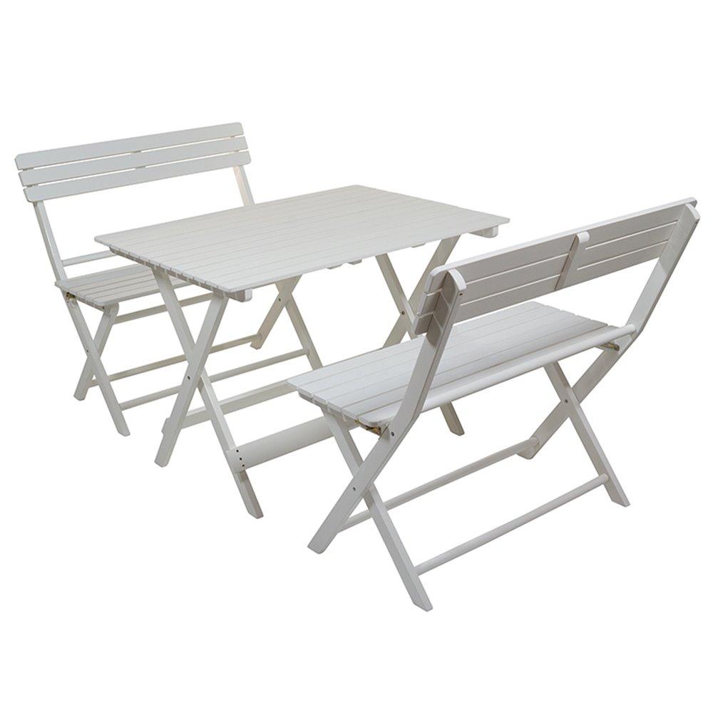 Set De Table De Jardin Avec 2 Bancs Blancs