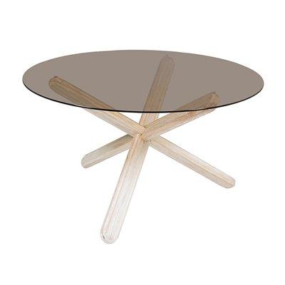 Mesa redonda estilo vintage con cristal 130 cm