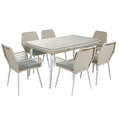 Set of table and 6 chairs for terrace and garden