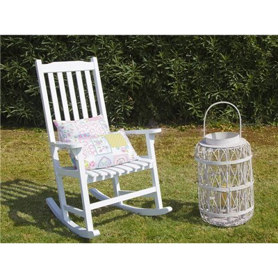White wood vintage rocking chair for exterior