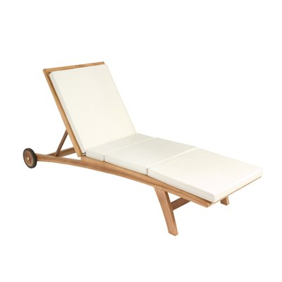 Lounger with cushion in teak