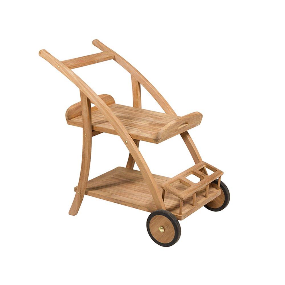 Mesa carrito / camarera de teca natural con 2 ruedas