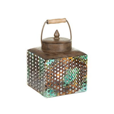 Box with lid turquoise metal