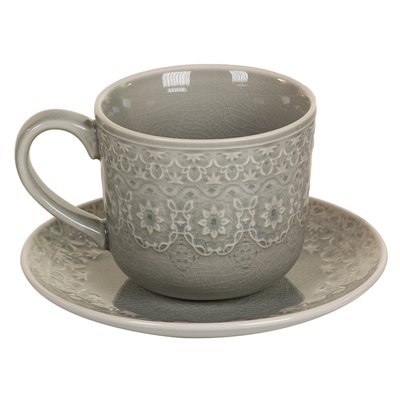 Gray tea cup with plate