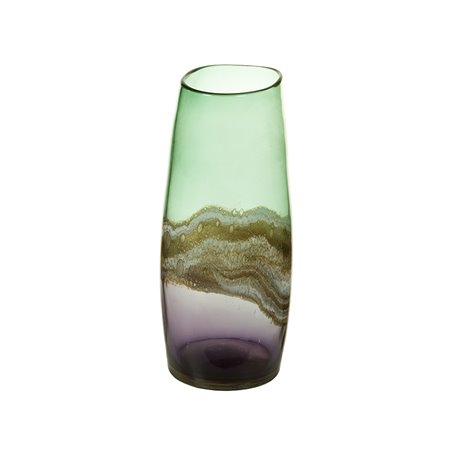 Vase en verre décoré