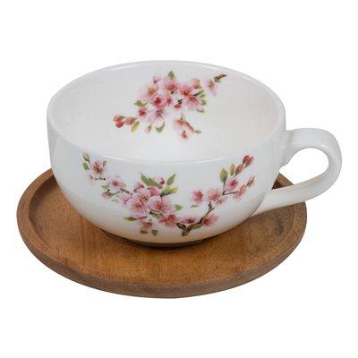 Taza té con plato Sakura