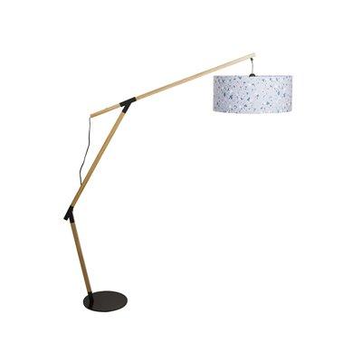 Floor lamp iron and oak wood