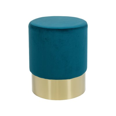 Taburete redondo tapizado de terciopelo azul y base oro