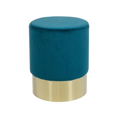Taburete redondo tapizado de veludo azul e base oro