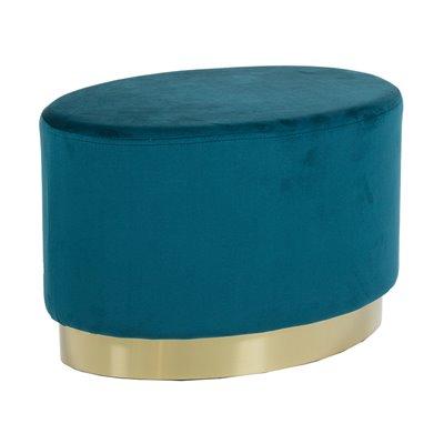 Taburete ovalado tapizado de veludo azul e base oro