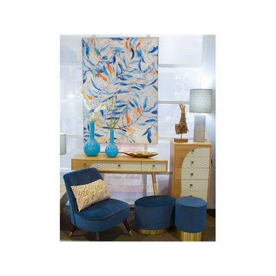 Taburete ovalado tapizado de terciopelo azul y base oro