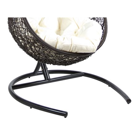 Black hanging basket chair with white cushion