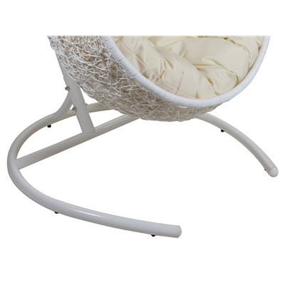 White hanging basket chair with cushion