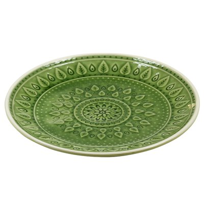Green natural dessert plate