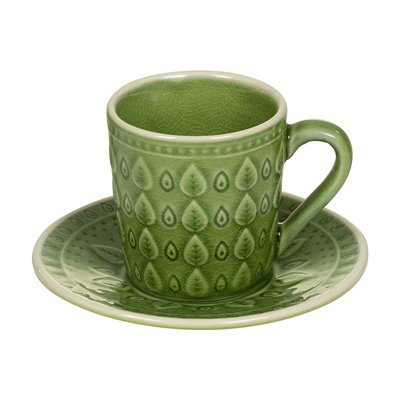 Teetasse mit grüner natürlicher Platte
