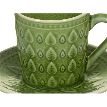 Tea cup with green natural plate