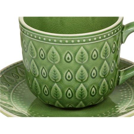 Cunca de café con prato natural verde