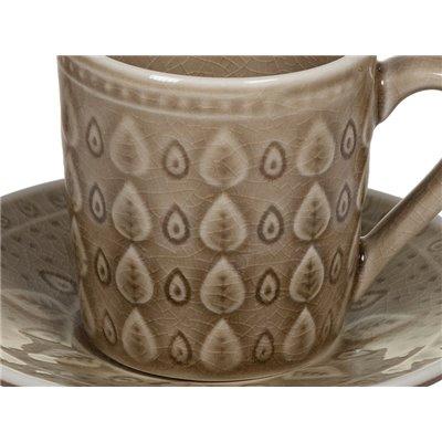 Taza de té con plato natural marrón