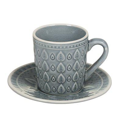 Cunca de té con prato natural azul