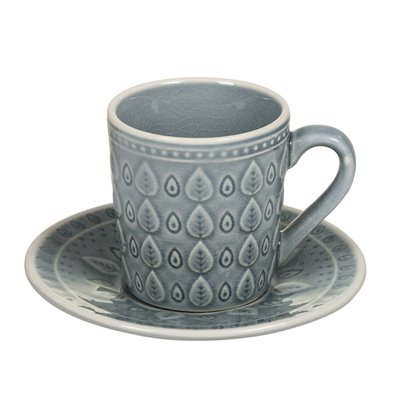 Tea cup with blue Natural dish plate