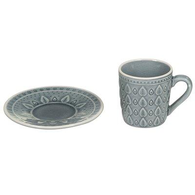 Taza de té con plato natural azul