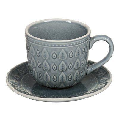 Tasse à café avec assiette à vaisselle naturelle bleue