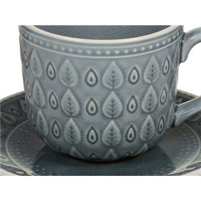 Tassa de café amb plat natural blau