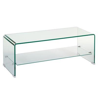 Mesa de centro de cristal rectangular
