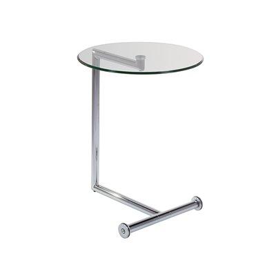 Mesa auxiliar con cristal y acabado plata
