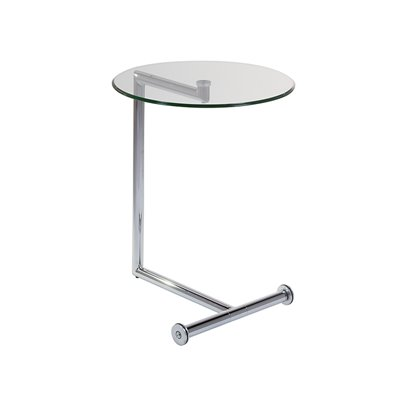 Side table with glass and silver finish