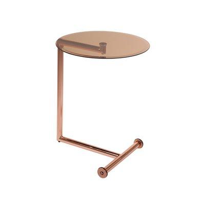 Table d'appoint avec verre et finition dorée