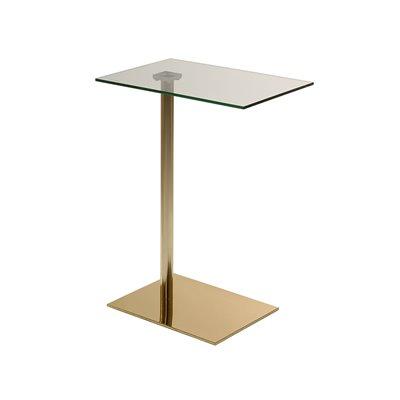 Mesa auxiliar con cristal y acabado dorado