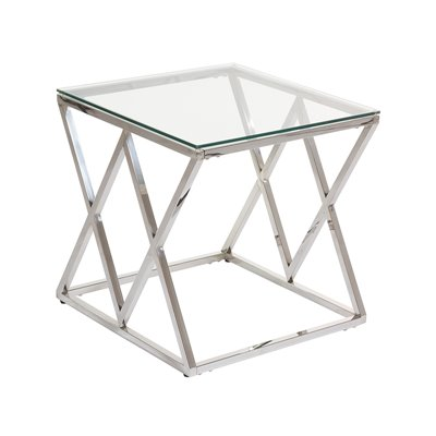 Abstract Side table with glass