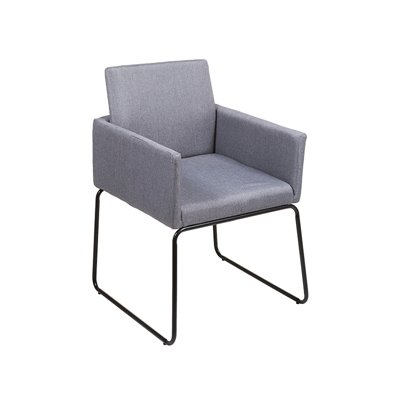Gray armchair and black legs