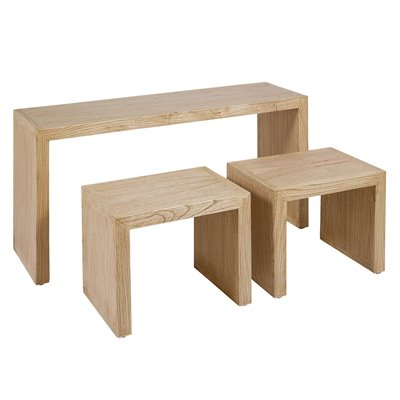 Table console style colonial avec 2 tables claire