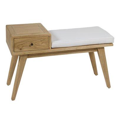 Banco con 1 cajón Jenki madera clara